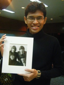 The Beatles' autographed photo personally given to Mr. Takashima